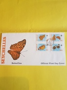 "SEYCHELLES FDC 18/02/1987 Timbres YT 619 à 622 ""Papillons ""  (REF 132) - Seychelles (1976-...)"