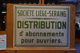 Plaque De Guichet De Vente D'abonnements Pour Ouvriers De La Société Liège Seraing Des Railways De Liège Seraing. - Chemin De Fer