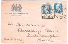 Hyères Var 1923 - Daguin Sur Pasteur - Cote D'Azur - Lettre Pour Littlehampton - Marcophilie (Lettres)