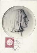 Alamanha. Republica Democratica. Franz Liszt.  Maxi Card.  Postal Maximo. Compositeur. Berlim. 1962