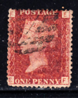 Great Britain Used #33 1p Victoria Plate 215 Position EF - 1840-1901 (Victoria)