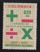 Mathematik 417) Kolumbien 1968 Mi# 1140 **: Datenverarbeitung, Addition Subtraktion Multiplikation Division Zeichen - Berufe