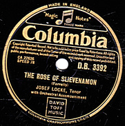 78 T. 25 Cm - état B - JOSEF LOCKETénor - THE ROSE OF SLIEVENAMON - THE BARD OF ARMAGH - 78 T - Disques Pour Gramophone
