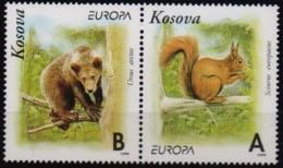 Kosovo 1999 Europa Cept Mamals Bear Squirrel, 2 Val Setenant MNH Private Issue