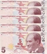 TURKEY 5 TURK LIRASI 2009 P-222a UNC SIGN. YILMAZ. TAN COLOR 5 PCS [TR300a] - Turkey