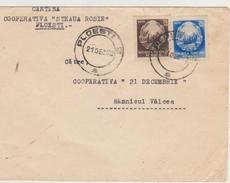 COAT OF ARMS CIRCULATED- 1952- COOP. ``RED STAR`-  VALCEA  UP  PLOIESTI-COOP.`21 DECEMBRE`` RM.VALCEA-1952 - Cartas