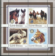 Guinea Bissau / Guinée-Bissau 2003 Horses.Les Chevaux.Rotary Club,Lions Club.S/S.MNH