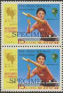 KOREA DPR (north) 1977 Ping Pong 15j SPECIMEN PAIR  [spécimen,Muster,muestra,saggio]
