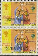 KOREA DPR (north) 1977 Ping Pong 40j SPECIMEN PAIR [spécimen,Muster,muestra,saggio]
