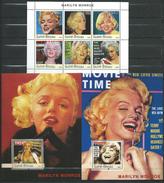 Guinea Bissau / Guinée-Bissau 2003 Marilyn Monroe, 1926-1962.Film,cinema,Famous Ladies.3 S/S.MNH