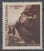 ROMANIA - 1952 Railroad Worker's Day. Scott 812. Mint
