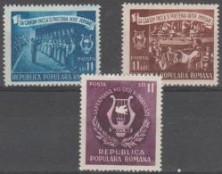 ROMANIA - 1951 Music Week. Scott 795-797. Mint