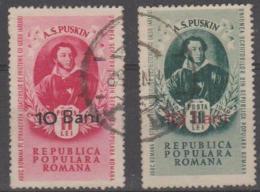 ROMANIA - 1952 Pushkin Surcharges. Scott 821-822. Used