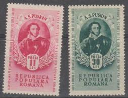 ROMANIA - 1949  Pushkin. Scott 704-705. Mint