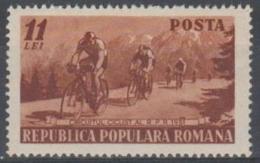 ROMANIA - 1951 Bicycle Tour. Scott 782. Mint