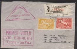 O) 1935 URUGUAY, VIA PANAGRA  TACNA LA PAZ - FIRST FLIGHT, PEGASO, 15 CENTS, 22 CENTS,REGISTERED MAIL, TO BOLIVIA, XF - Uruguay