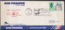 """Philippines 3-4.X.1976 """"Air France"""" First Super Sonic Flight In Asia; Paris - Manila - Paris, Airmail - Philippines"""