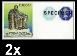 BULK:2 X GREAT BRITAIN 1974 Monument EUROPA Churchill Machines  SPECIMEN IMPERF:sheetlet [muestra,Muster,spécimen]