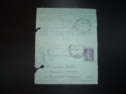 CL ENTIER PNEUMATIQUE SEMEUSE 30c OBL. HOROPLAN 15 Du 1 10 PARIS R. DE PROVENCE + PARIS 88