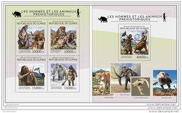 GUINEA REP. 2014 ** 2 S/S Men &amp  Prehistoric Animals Männer &amp  Dinosaurier Les Hommes Et Les Animaux Prehi