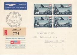 Suisse -  Lettre/Première Liaison Suisse - USA -  02/05/1947 - YT PA 41 - Bloc De 4