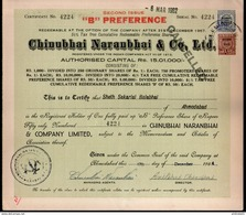 India 1950's Chinubhai Naranbhai & Co. Share Certificate With Revenue Stamp # FA-21 - Industry