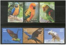 India 2016 Exotic Birds Parrots Blue Throated Macaw Wildlife Fauna 6v Set MNH