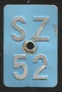 Velonummer Schwyz SZ 52 - Plaques D'immatriculation