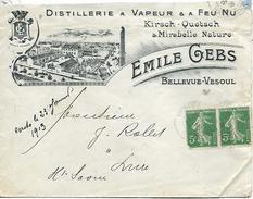 70  VESOUL Lettrepour Lure En Tête Emile Gebs Distillerie à Vapeur Et à Feu Nu Kirsch Quetsch & Mirabelle Nature  1913