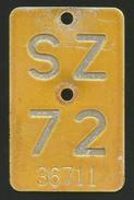 Velonummer Mofanummer Schwyz SZ 72 - Plaques D'immatriculation