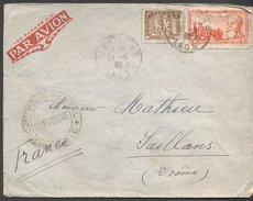 Enveloppe 1940 - Laos Vers France - Cachets Ventiane / Contrôle Postal / ? / Saillans / - Briefe U. Dokumente
