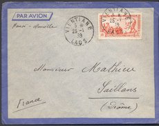 Enveloppe 1939 - Laos Vers France - Cachets Vientiane / Hanoï / Saillans / - Briefe U. Dokumente