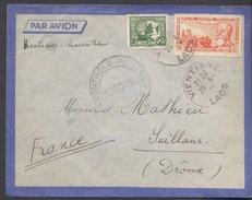 Enveloppe 1939 - Laos Vers France - Cachets Vientiane / Contrôle Postal / Hanoï / Saillans / - Briefe U. Dokumente