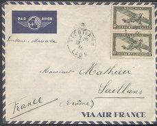 Enveloppe 1940 - Laos Vers France - Cachets Vientiane /  Hanoï / Saillans / - Briefe U. Dokumente