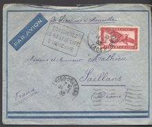 Enveloppe 1935 - Laos Vers France - Cachets Luang-Prabang / Pub. Riz D'indo / Marseille Gare / Saillans - Briefe U. Dokumente