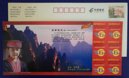 Yao Nationality Girl Traditional Dress & Hat,China 2010 Jinxiu Mt.lianhuashan Landscape Tourism Pre-stamped Card