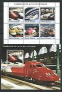 Guinea Bissau / Guinée-Bissau 2003 Locomotives.Transportation/Railways/Trains. 2 S/S.MNH