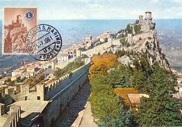 D28990 CARTE MAXIMUM CARD 1961 SAN MARINO - MONTE TITANO CASTLES - STAMP LIONS CLUB CP ORIGINAL
