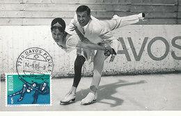 D28991 CARTE MAXIMUM CARD 1965 SWITZERLAND - FIGURE SKATING DAVOS CP ORIGINAL