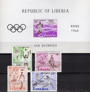 Olympiade Rom 1960 Liberia 552/5+Block 16 ** 11€ Rudern Lauf Stadion Athletic Hb Sport Bloc Olympic Sheet Bf Africa
