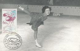 D28993 CARTE MAXIMUM CARD RR 1962 CZECHOSLOVAKIA - FIGURE SKATING CP ORIGINAL
