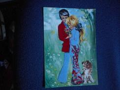 CPDM - Couple Typique Années 70 (pattes D'eph) Avec Petit Chien - Tissu Collé - Couples