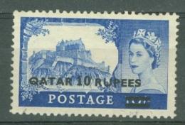 Qatar: 1957/59   QE II    SG15   10R On 10/-  [Type I OVPT]    Used - Qatar