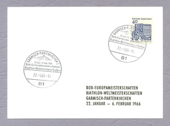Germany, 1966, Ganzsache, Bob Europameisterschaften Biathlon Weltmeisterschaften, Garmisch Partenkirchen Sonderstempel