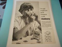 ANCIENNE PUBLICITE YOGHOURT GOUT BULGARE CHAMBOURCY 1966 - Autres Collections