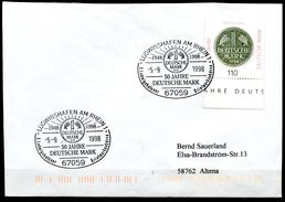 """Germany 1998 Sonderbeleg """"Geld,Money""""mit Mi.Nr.1996 U.SST""""Ludwigshafen-50 Jahre Deutsche Mark""""1 Beleg"""