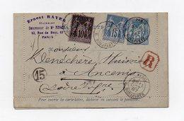 !!! ENTIER POSTAL 15C SAGE + CMPLTS AU TYPE SAGE RECOMMANDE DE 1887