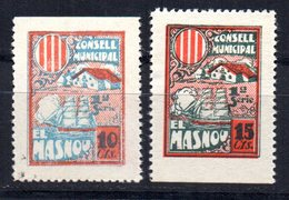 2 Viñetas De El Masnou 10 Y 15cts - Viñetas De La Guerra Civil
