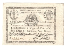 1à Repubblica Romana Assegnati 1798 10 Paoli ( Cerchio ) Dell'anno 7  Sup/fds Lotto.1572 - [ 1] …-1946 : Koninkrijk