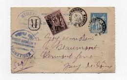 !!! ENTIER POSTAL 15C SAGE RECOMMANDE DE ST ETIENNE DE 1899